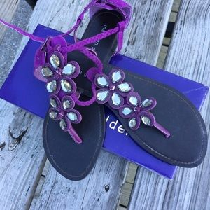 💜Bejeweled Purple suede sandals Madden Girl- FAB
